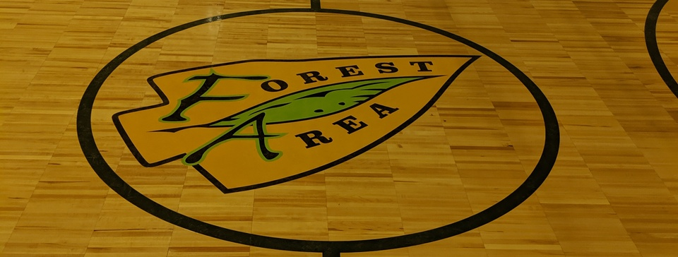 School logo on gym floor
